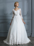 Princess Wedding Dresses,Ball Gown Wedding Dress with Sleeves,Classic Wedding Gown,WD00296