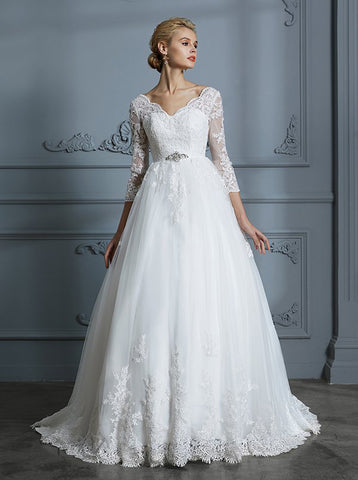 Buy plus size ball gown wedding dresses with train affordable ...