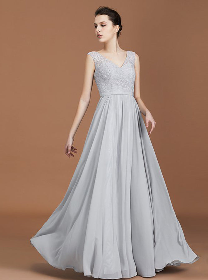 Silver Bridesmaid Dresses Long Bridesmaid Dress Elegant