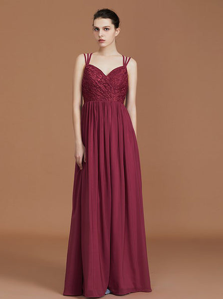 Burgundy Bridesmaid Dresses,Lace Chiffon Bridesmaid Dress,Long Bridesmaid Dress,BD00235