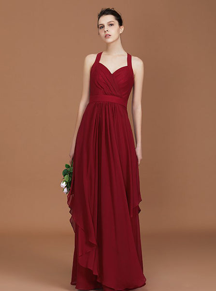 Long Bridesmaid Dresses,Burgundy Bridesmaid Dress,Modest Bridesmaid Dress,BD00222