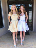 Yellow Homecoming Dresses,Sweet 16 Dress Satin,Modest Homecoming Dress,HC00103