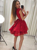 Red Homecoming Dresses,Lace Homecoming Dress,Short Homecoming Dress,HC00077