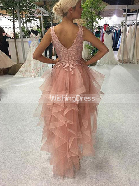 Pink Homecoming Dress,High Low Homecoming Dresses,Ruffled Homecoming Dress,HC00134