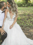 Boho Wedding Dresses,Open Back Wedding Dress,Beach Bridal Dress,Romantic Wedding Dress,WD00243