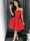 Red Homecoming Dresses,Satin Homecoming Dress,Short Homecoming Dress,HC00097