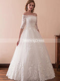 Floor Length Bridal Gown,Off the Shoulder Wedding Dress,Ball Gown Wedding Dress,WD00232