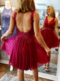 Chiffon Cocktail Dresses,Open Back Cocktail Dress,Short Homecoming Dress,CD00043