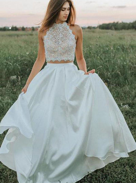 Two Piece Wedding Dresses,Outdoor Wedding Dress,Trendy Wedding Dress,WD00166