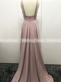 Gold Bridesmaid Dress,Bridesmaid Dress with Slit,Full Length Bridesmaid Dress,BD00087