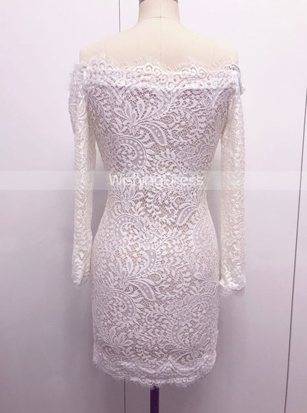 White Cocktail Dresses,Cocktail Dress with Sleeves,Lace Cocktail Dress,Short Cocktail Dress,CD00048