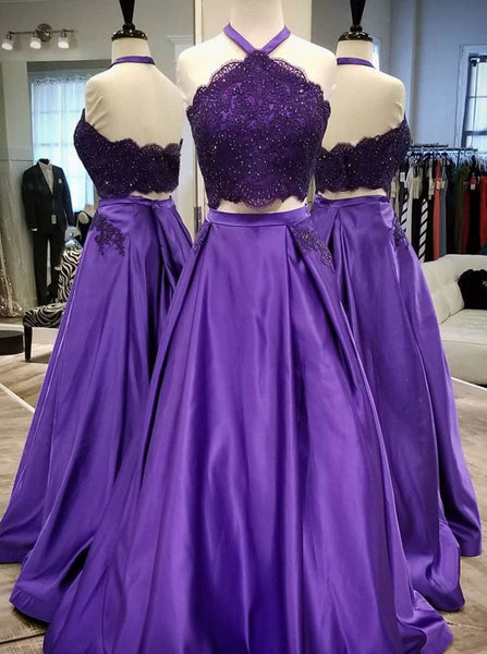 Two Piece Prom Dresses,Purple Long Prom Dress,Prom Dress with Pockets,PD00113