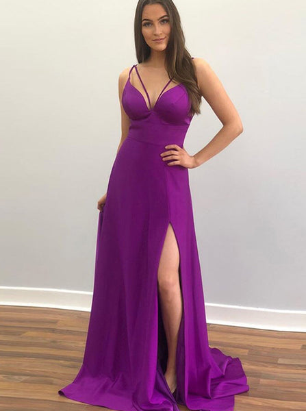 Long Homecoming Dresses,Homecoming Dress with Slit,Simple Prom Dress,HC00023