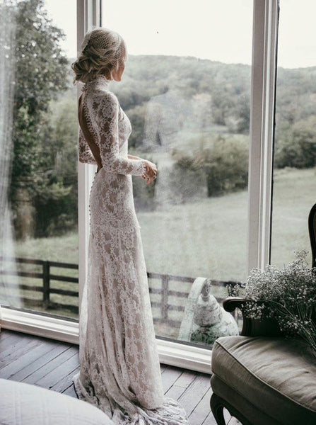 Lace Mermaid Wedding Dresses with Long Sleeves,Chic Bridal Dress,WD00341