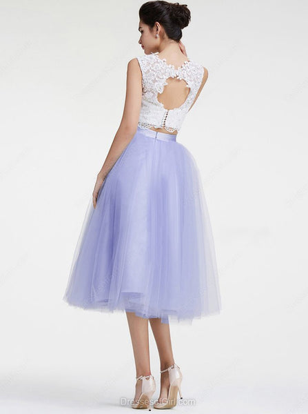 Two Piece Homecoming Dresses,Tulle Knee Length Prom Dresses,CD00007