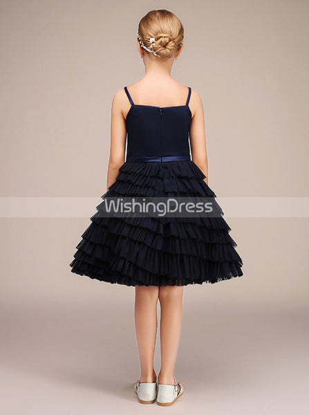 Dark Navy Junior Bridesmaid Dresses,Tulle Ruffled Junior Bridesmaid Dress,JB00032