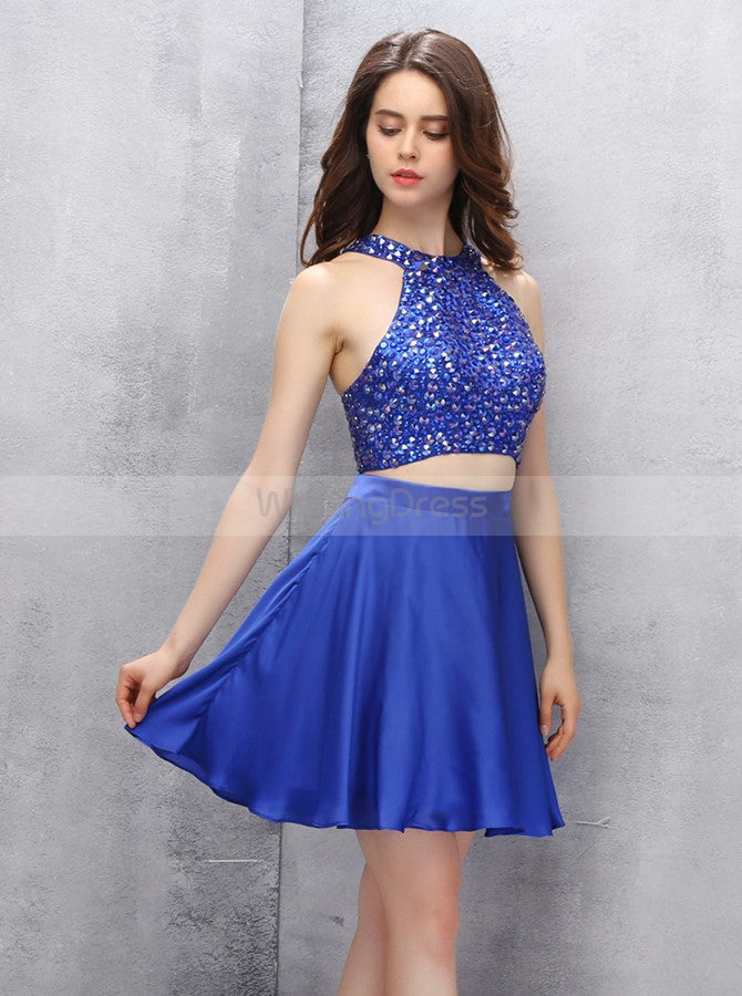 9334df872 Royal Blue Homecoming Dresses,Two Piece Homecoming Dress,Short Homecoming  Dress,HC00109