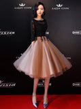 Two Tone Homecoming Dresses,Homecoming Dress with Sleeves,Knee Length Homecoming Dress,HC00037
