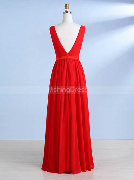 Simple Bridesmaid Dresses,Chiffon Bridesmaid Dress,Backless Bridesmaid Dress,BD00261