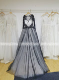Black Wedding Gown,Ball Gown Wedding Dresses,Wedding Dress with Sleeves,Tulle Bridal Gown,WD00072