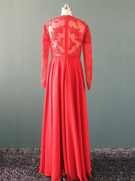 Red Wedding Dresses,Wedding Dress with Long Sleeves,Destination Wedding Dress,WD00202
