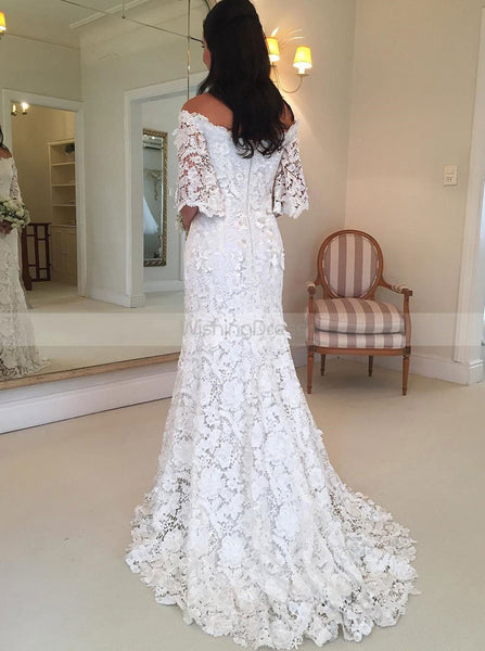 White Lace Wedding Dresses,Off the Shoulder Bridal Dress,Bridal Dress with Sleeves,WD00305