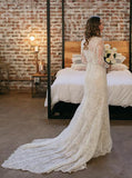 Ivory Lace Wedding Dress,Long Sleeves Wedding Dress,BD00168