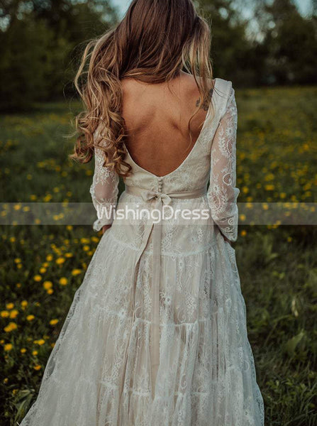Long Sleeves Wedding Dresses,Lace Wedding Dress,Backless Bridal Dress,Boho Bridal Dress,WD00129