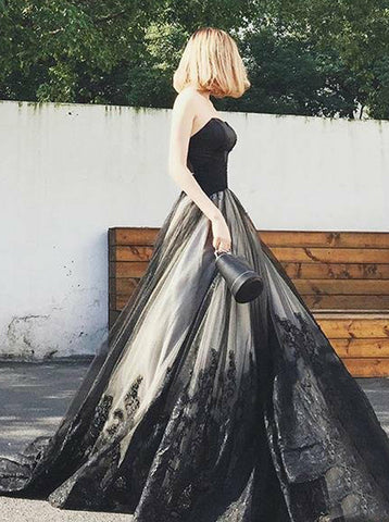 A-line Black Sweetheart Prom Gown,Tulle Lace Up Back Evening Dress,Elegant Evening Dress PD00133