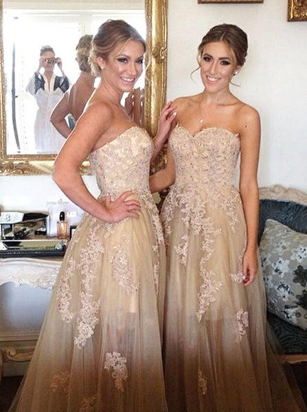 A-line Bridesmaid Dress with Appliques,Tulle See Through Long Bridesmaid Dress,BD00060