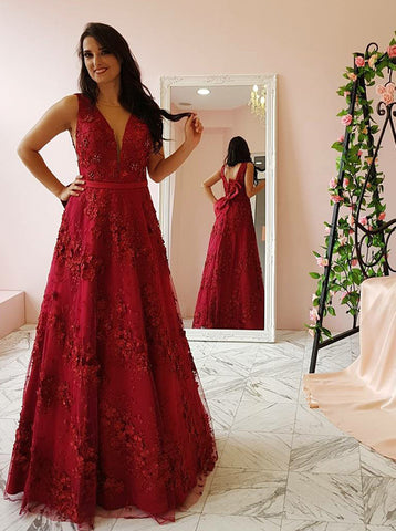 A-line Burgundy Lace Prom Dress,Gorgeous Evening Dress with Bowknot PD00151