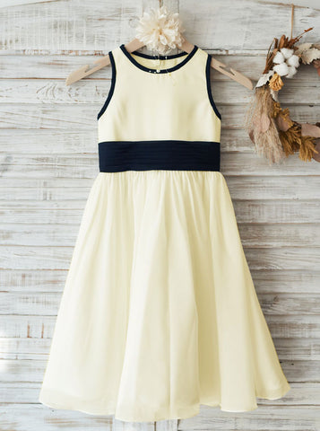 A-line Chiffon Flower Girl Dresses,Ankle Length Flower Girl Dress,FD00032
