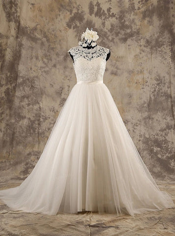 A-line Classic Wedding Dress,High Neck Wedding Dress,WD00580