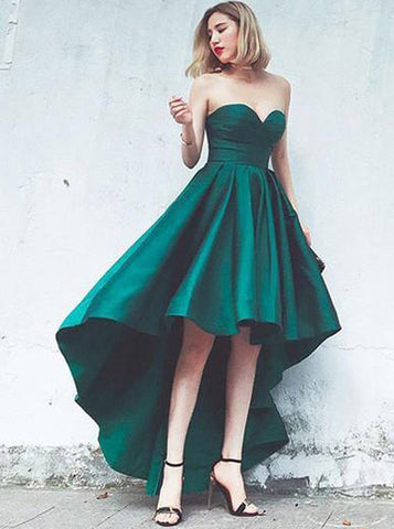 A-line Dark Green Homecoming Dresses,High Low Prom Dress,Sweetheart Homecoming Dress,HC00165