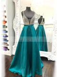 A-line Floor Length Prom Dress,Simple Prom Dress with Pockets,Satin Prom Dress PD00039