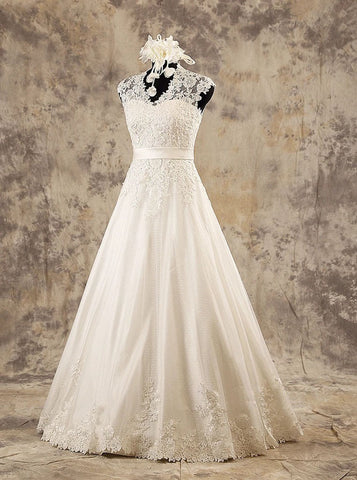 A-line Floor Length Wedding Dress,Classic Reception Wedding Gown,WD00578