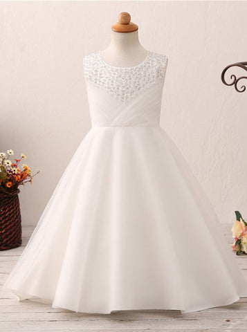 A-line Flower Girl Dresses,Full Length Flower Girl Dress,Lovely Flower Girl Dress,FD00056