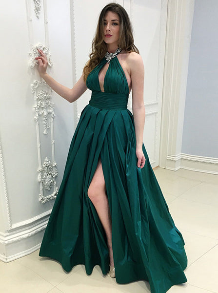 A-line Halter Prom Dress,Taffeta Long Evening Dress,Women Prom Dress Dark Green with Slit PD00155