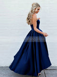 A line High Low Prom Dress,Dark Navy Homecoming Dress,Sweetheart Taffeta Prom Dress PD00003