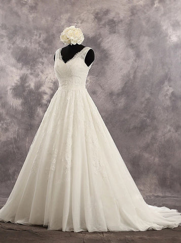 A-line Ivory V-neck Wedding Dresses,Princess Bridal Dress with Chapel Train,WD00546