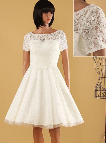 A-line Knee Length Wedding Dresses,Outdoor Lace Wedding Dress with Short Sleeves,WD00566