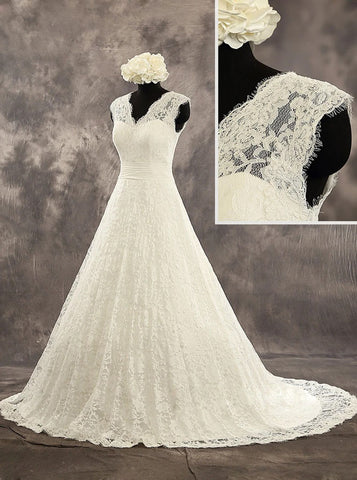 A-line Lace Wedding Dress with V Neckline,Modest Wedding Gown,WD00526