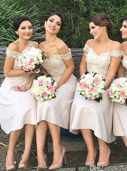 A-line Off the Shoulder Bridesmaid Dress,Ivory Bridesmaid Dress,Short Satin Bridesmaid Dress,BD00056