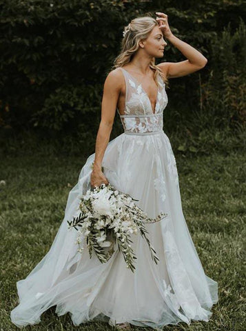 A-line Outdoor Wedding Dress,Boho Tulle Wedding Dress,WD00422