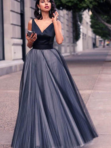 A-line Prom Dress,Tulle Prom Dress,Modest Prom Dress,Prom Dress with Straps,Graduation Dress PD00194