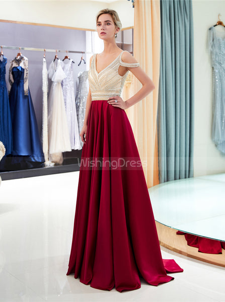 A-line Prom Dress with Beaded Bodice,Satin Evening Dress,PD00382