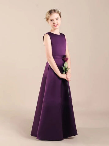 A-line Satin Junior Bridesmaid Dresses,Fall Junior Bridesmaid Dress,JB00059