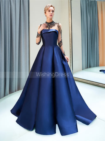 products/a-line-satin-prom-dresses-with-sleeves-high-neck-evening-dress-pd00381-2.jpg