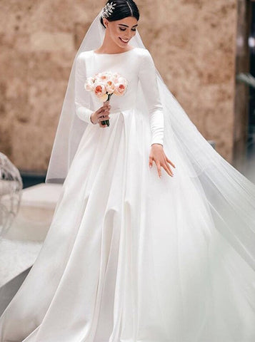 A-line Satin Wedding Dress with Long Sleeves,Modest Wedding Dress High Neck,WD00617