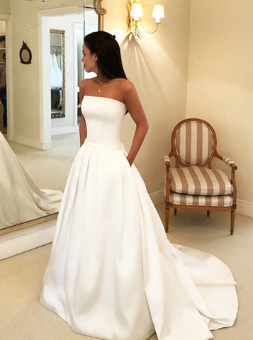 A-line Satin Wedding Dress with Pockets,Strapless Simple Wedding Gown,WD00620